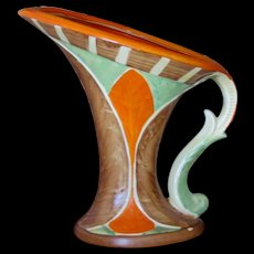 Myott Art Deco Large Scroll Handle Jug, 1930s
