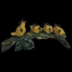 Stangl Pottery Hand Painted Family of Goldfinches, Bird Figurine, Artist Signed