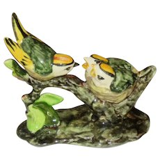 Stangl Pottery Gold Crested Kinglets Family, Hand Painted Bird Figurine