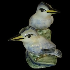 Stangl Pottery Hand Painted Kingfishers, Double Bird Figurine