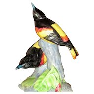 Stangl Pottery Hand Painted Orioles, Double Bird Figurine Signed by Artist