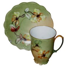 Unusual Antique Moritz Zdekauer Chocolate Cup and Saucer, Artist Signed