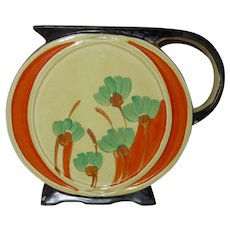 Myott Son & Co. Art Deco Round Jug, Hand Painted Flowers