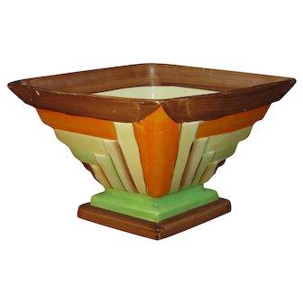 "Myott, Son & Co. Art Deco Diamond Planter, ""Stripes"" No. 8660, Hand Painted"