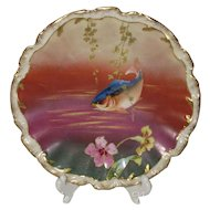 Gorgeous Limoges Bright Blue Fish Cabinet Plate, Brilliant Colors
