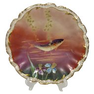 Klingenberg Limoges, Brilliant Purple Fish Cabinet Plate, Brightly Colored
