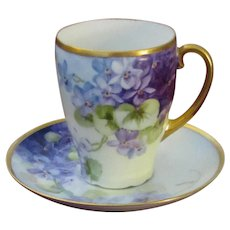 Bavarian Chocolate Cup and Saucer, Handpainted Violets