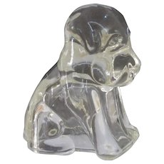 """Mopey Dog"" by Federal Glass, 1940s Small, Heavy Glass Figurine"