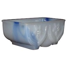 Pair of Bulb Planters in Blue on White Slag Glass, Akro Agate Company