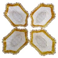 Button and Daisy EAPG, Set of Four Yellow Stain Berry Bowls