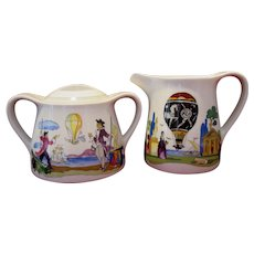 Villeroy and Boch Creamer, Covered Sugar, Jean Mercier's Watercolor Paintings