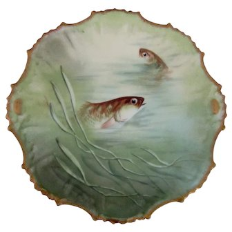 "Limoges 9"" Fish Plate, Hand Painted, Artist Signed  3 of 3"