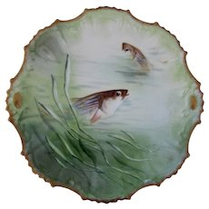 "Limoges, Coiffe, Coronet  9"" Fish Plate, Hand Painted, Artist signed  2 of 3"