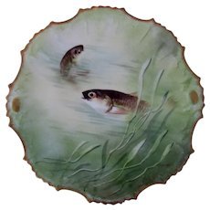 "Limoges, Coiffe, Borgfeldt  9"" fish plate, Hand Painted Artist signed. 1 of 3"