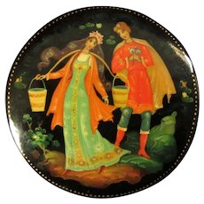 Lovely Russian Folk Tale Lacquer Brooch, Hand Painted