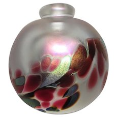 Gorgeous Maytum Studio Satin Glass Perfume Bottle, Signed - Reds, Greens, Pink