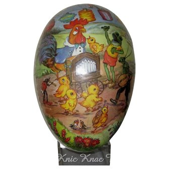 "Large 7"" Paper Mache Easter Egg, Rooster Leading Animal Musicians"