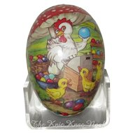 """Small 4"""" Paper Mache Easter Egg, Hen Selling Painted Eggs"""