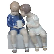 Boy and Girl Seated with Drinks, Designed by Claire Weiss, Bing and Grondahl