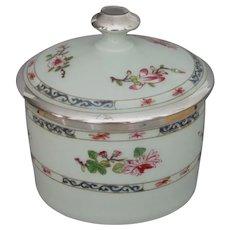 Raynaud Limoges Oriental Motif Dresser Jar with Silver Overlay