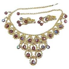 Vintage Juliana Bib Necklace Earrings Purple AB Rhinestones and Beads