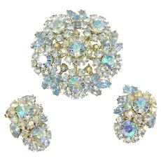 1 7/8 in. Vintage Crown Trifari Blue Aurora Borealis Rhinestone Pin Earrings