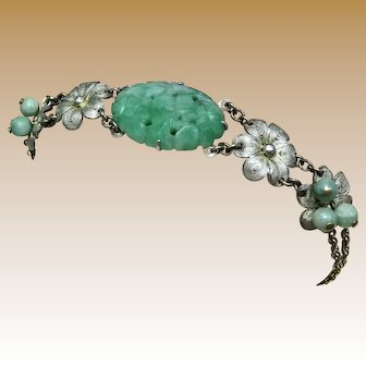 Vintage 1920s Unique Late Asian Art Nouveau - Early Asian Art Deco Carved Jadeite Jade and Sterling Silver Filigree Adjustable Floral Christmas Gift Bracelet
