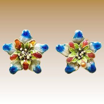 Vintage 1920s Late Art Nouveau - Early Art Deco Chinese Filigree Floral Enameled Post Earrings with Push on Backings for Pierced Ears Christmas Giftable Vintage Earrings for Her