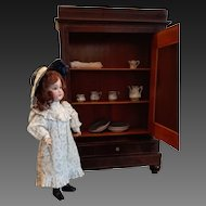 French Armoire Louis Philippe Style , about 1900  ,Doll Miniature wardrobe with mirror and drawer