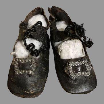 Pair of Antique Black Leather Bru Shoes, Size 7
