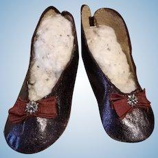 Very rare early heeled Jumeau shoes, France 1880s
