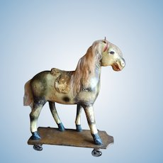 Antique pull Toy horse on wheels, 1880's