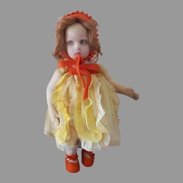 Italian felt Child Doll,  LENCI Series 450 (LUCIA  face),  in vibrant orange Costume;  ITALY, late 1920's