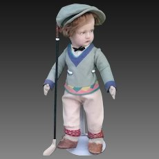 "Rare, early Lenci doll, ""The Golfer"" from the 1929-30 Sports Series"