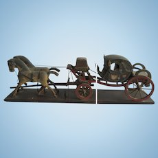 Antique wooden carriage, pulled by 2 horses, from the late 19th to 20th century