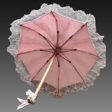 "Lovely Antique Jumeau Umbrella/Parasol 14 1/2"" (37 cm);  Jumeau horse head metal base, metal tip  and wooden handle"