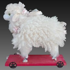 Splendid antique sweet SHEEP in mohair