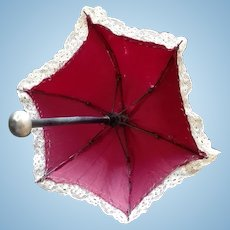 Lovely Antique  Umbrella/Parasol , high 8 inches (21 cm);  metal handle  and tip