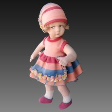 Beautiful  felt doll marked ALMA  MADE IN ITALY ,  about 1930's
