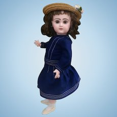 "Very nice size 7 Jumeau doll closed mouth , 17"" tall, restored"