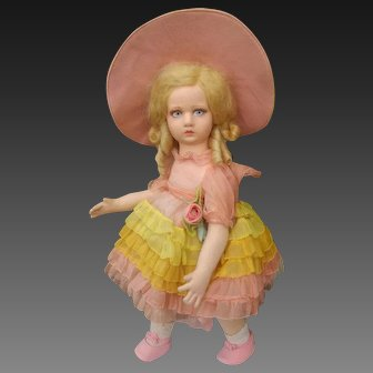 """A wonderful Series """"Giuliana"""" Lenci doll,  in totally mint condition, boxed , probably never played . Height 17 inches (43cm), 1930"""