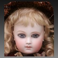 """Stunning early  Portrait Jumeau Deluxe First period . Big almond eyes,  Marked  """"1"""".  High 47 cm  ( 18 1/2 inches).Very rare wood body marked Jumeau"""