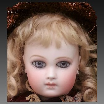 "Stunning early  Portrait Jumeau Deluxe First period . Big almond eyes,  Marked  ""1"".  High 47 cm  ( 18 1/2 inches).Very rare wood body marked Jumeau"