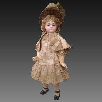 Beautiful  Antique  F. Gaultier , F.10.G.  Block Letter,  French Bebe Doll , 24 inches - Original dress , wig , shoes, underwear
