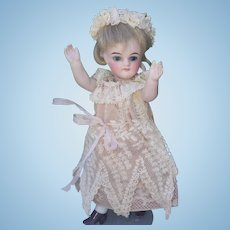 "Incredible and very rare Gerbruder Kuhnlenz all bisque little doll  5,5"" (14 cm), with beautiful antique dress"