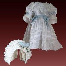 Antique original white cotton dress for size 13 Bebé Jumeau