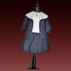 Rare original Jumeau factory navy blue sailor costume for size 13 bebé Jumeau
