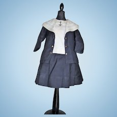Rare original Jumeau factory navy blue sailor costume for size 13 bebé Jumeau