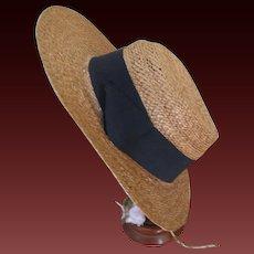 antique original Straw hat for size 13 bebé Jumeau
