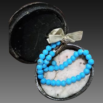 Jumeau Factory Blue glass Bead Necklace and Earrings in Box